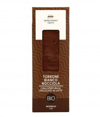Torrone Bianco Nocciola ricoperto di Cioccolato al Latte Bio