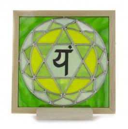 4° Chakra - Vetro Opalescente con Lettera Sanscrita Pellicolare + Lampada (da Retroilluminare)