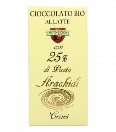 Cioccolato al Latte Bio con Pasta di Arachidi 25%