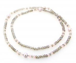 Collana-Bracciale in Argento con Cristalli Swarovski e 5 Perle Rosa Top Naturali