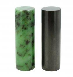 Coppia di Cilindri Levigati - Giada Verde + Shungite