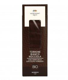 Torrone Bianco Nocciola ricoperto di Cioccolato Fondente Bio