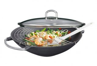 Wok Set Premium - Pentola con Coperchio in Vetro e Accessori
