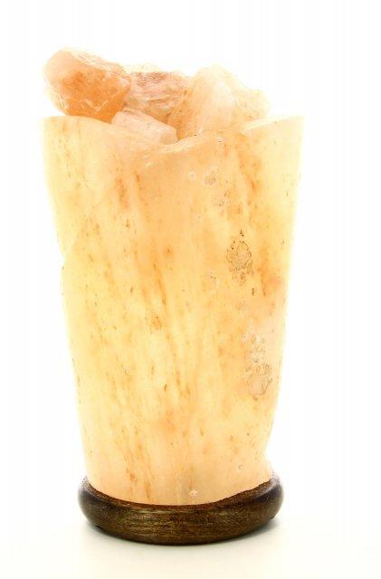 Lampada con Cristalli di Sale Himalayano - Vaso di Fuoco Spirale - Bio Luce