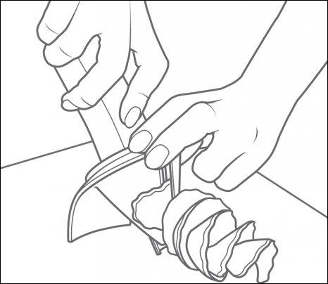 Coltello a Spirale Continua - Lama Dritta Coltello a Spirale Dentellato