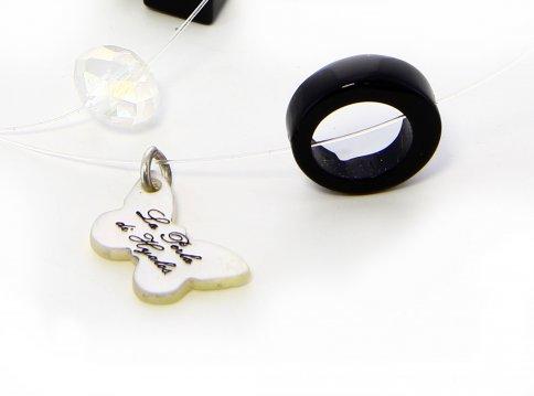 Collana Multi Filo Trasparente in Argento con Onice, Perla, Madreperla e Swarovski