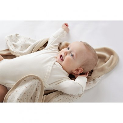 Copertina Baby Double Face in Cotone Biologico - Ecrù con stampa marrone