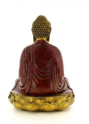 Buddha in Meditazione nella Posizione del Loto - Rosso e Oro