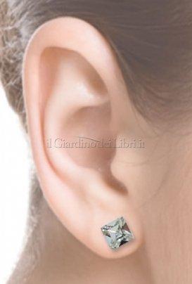 Orecchino Carrè 6 mm - Crystal