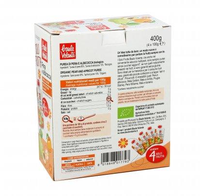 Purea con Pera e Albicocca Bio - Solo Frutta 4 pezzi doypack (4x100 gr.)