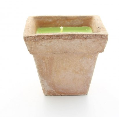 Vasetto in Terracotta con Cera Color Verde