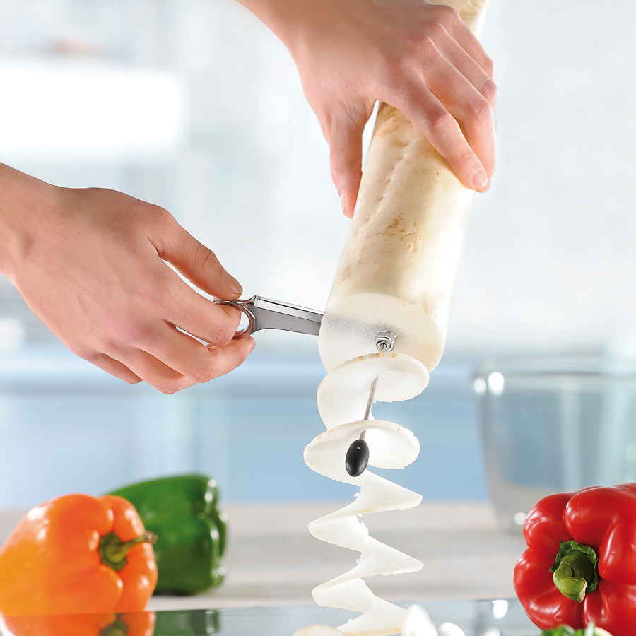 Taglia Ravanello a Spirale in Acciaio Inox - Rettimo Per cetrioli, carote e patate