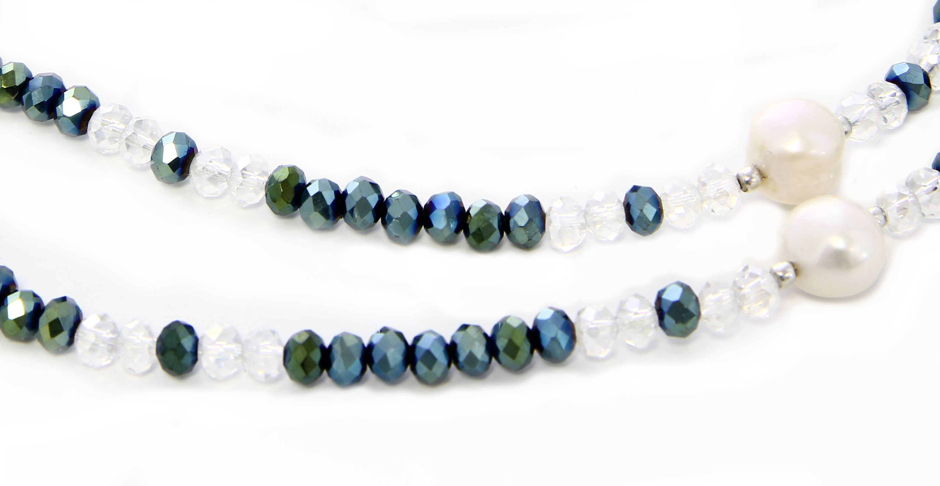 Collana-Bracciale in Argento con Cristalli Swarovski e 5 Perle Bianche Naturali