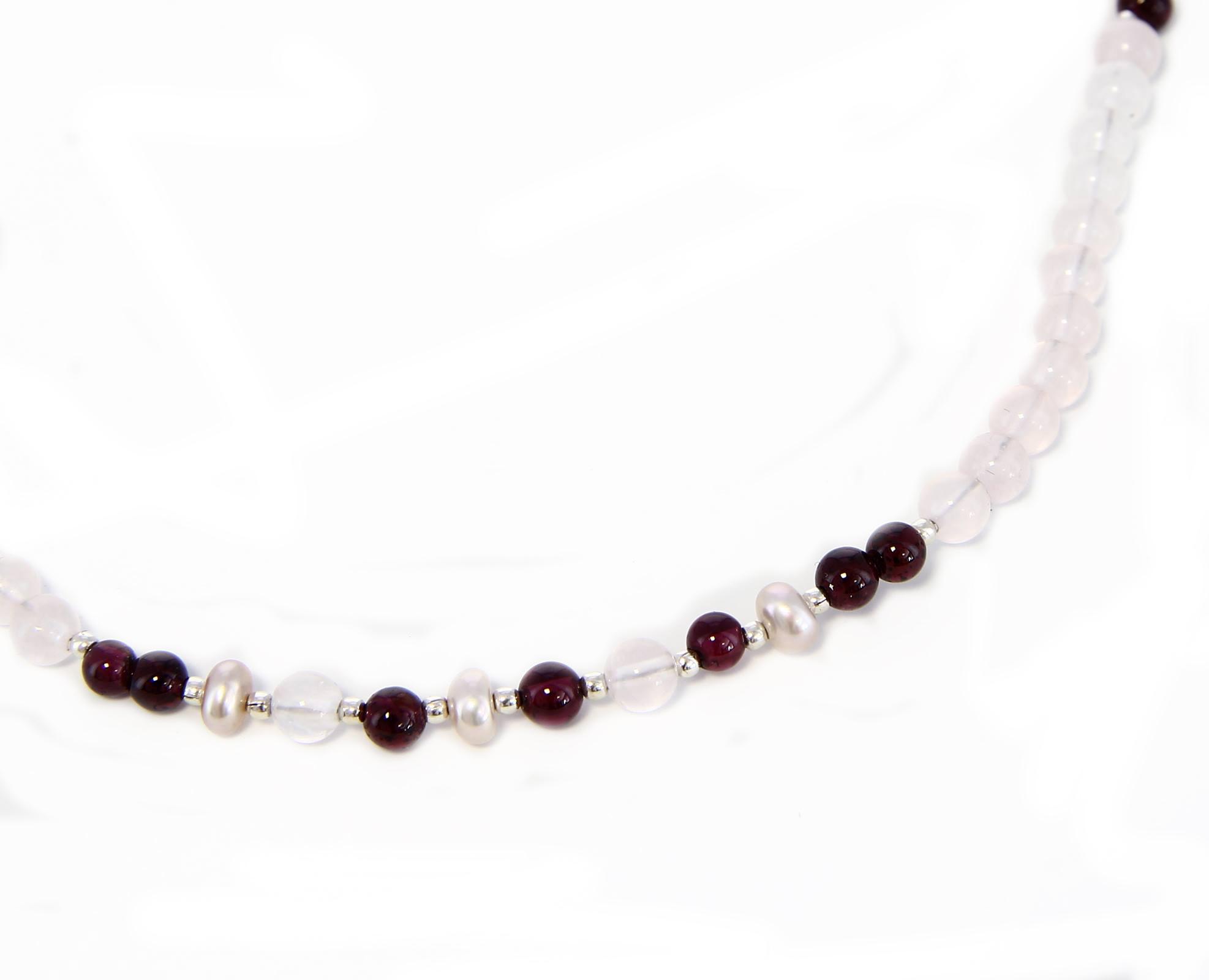 Collana con Quarzo Rosa, Perla e Granato in Argento