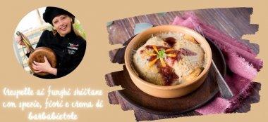 Crespelle ai funghi shiitake con spezie, fiori e crema di barbabietole