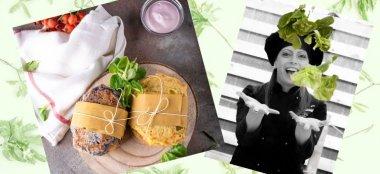 Sandwich di Cavolo Cappuccio con Burger di Noodles di Riso