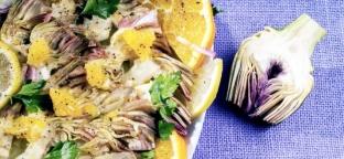 Carpaccio di carciofi marinati alla ligure con avena